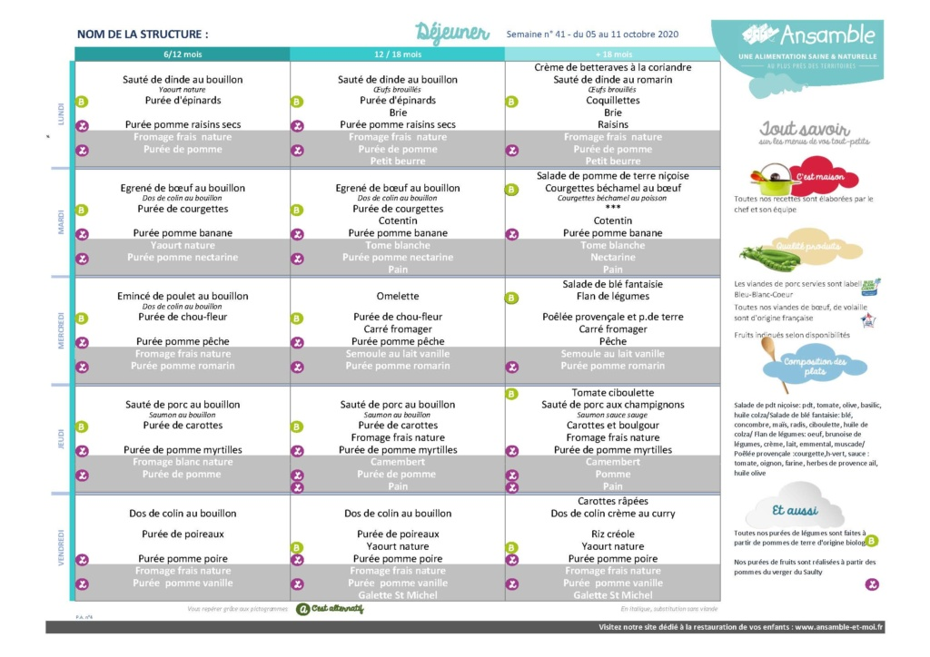 Menu semaine 41 - 05 au 09 octobre